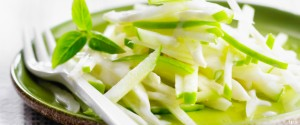 Celery and green apple thinly chopped salad